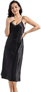 Jixin4you Women's Satin Full Slip Mini/Midi Dress Spaghetti Strap Nightdress Lingerie Chemise Nightgown