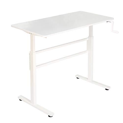 SDADI Crank Adjustable Height Standing Desk - Sit to Stand up Desk, Home Office Desk Computer Workstation, Black Frame/Antique Top