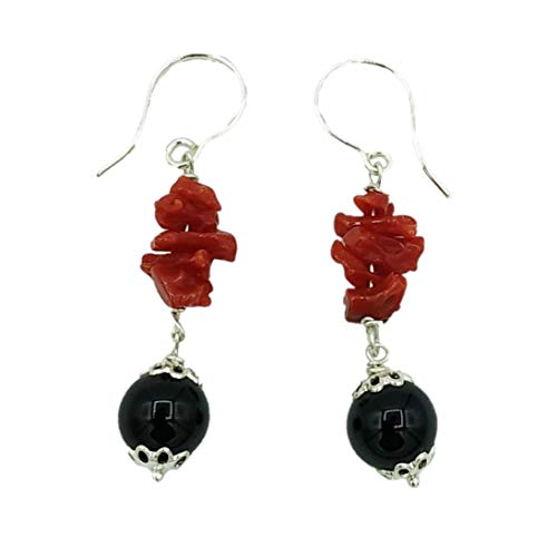 Orecchini argento corallo rosso e agata nera, stile su coccu