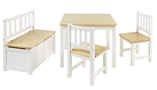 BOMI Kindersitzgruppe Anna mit integrierter Spielzeugkiste | Kindertruhenbank aus Kiefer Massiv Holz | Holzsitzgruppe für Kinder, Mädchen und Jungen Natur