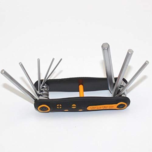 Juego de llaves hexagonales plegables, juego de llaves con llave Allen 8 en 1, destornillador métrica multifunción portátil para bricolaje para bicicletas y mantenimiento de electrodomésticos