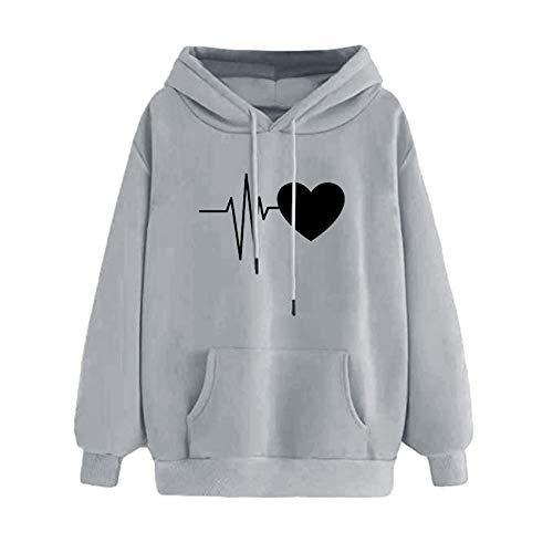 x8jdieu3 SuéTer Holgado Informal con Capucha De Lana EKG Love Print SuéTer Acolchado para Mujer