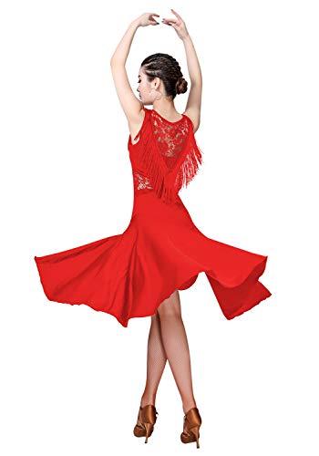 ZX Ballsaal-Tanzkleider für Damen, mit Fransen, Spitze am Rücken, Salsa / Lateinamerikanisches Tanzkleid mit Shorts (5 Farben) - Rot - X-Groß
