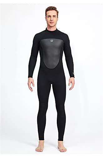 WOZWZ Traje De Neopreno Masculino De 3 Mm Espesar Invierno Cálido Protector Solar Al Aire Libre Esnórquel Traje De Medusa De Manga Larga De Una Pieza para Bucear Surf Esnórquel Y Otros(XL, Black)