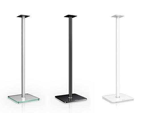 Nubert BS-1002 | Boxenstativpaar für Kompaktlautsprecher von Nubert bis 10 kg | Höhe 100 cm | Echtglasständer | Lautsprecheruntersatz aus Aluminium | Original Nubert Zubehör | Schwarz | 2 Stück