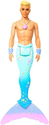 Barbie Dreamtopia poupée Ken Triton avec nageoire Arc-en-Ciel Bleue et Cheveux Blonds, jouet pour enfant, FXT23
