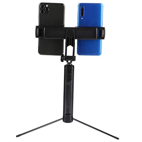 Selfie Stick con Doble Clip para teléfono, Soporte Extensible para trípode BT Selfie Stick, Poste Ajustable de 6 Secciones para transmisión en Vivo, para teléfono móvil, portátil