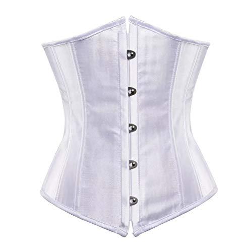 Corset Underbust bajo Pecho Disfraz Mujer Bustier corsé Vestir Sexy gotico Lingerie Costume Burlesque Blanco 6XL