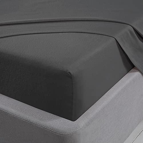 Sleepdown Sábana Bajera Ajustable 100% algodón Cepillado Franela de Lujo Suave 25 cm 25 cm 25 cm - Gris carbón - King