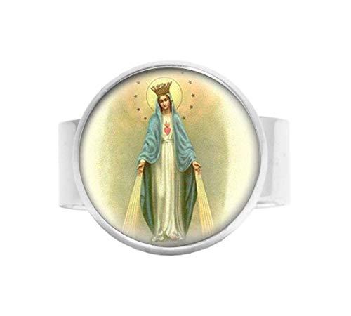 Nuestra Señora de la Milagrosa Medalla Anillo Virgen María Joyería Encanto Joyería Cristal Foto Joyería