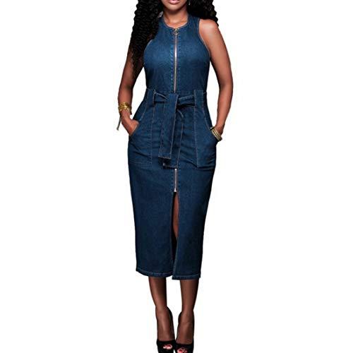 Rocke Ärmelloses, festes Jeanskleid mit Reißverschluss, figurbetonten Midikleidern mit Tasche und GürtelDamen (Farbe : Blau, Size : XL)