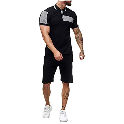 Yowablo Sets Männer Sommerhaus Streifen Farbe Kollision Kurzarm Shorts Sport Dünn (XL,2Grau)