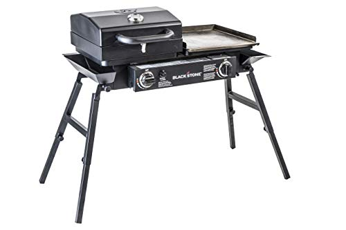 Blackstone 1555 Tailgater Stainless Steel 2 Burner Portable Gas Grill and Griddle Combo Total 35,000 BTUs for Indoor or Backyard, Outdoor, Patio, Picnic, Garden Cooking, Black