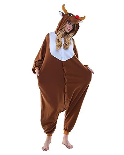 NEWCOSPLAY Unisex Reindeer Pyjamas Onesie Christmas Costume (M, Coffee)