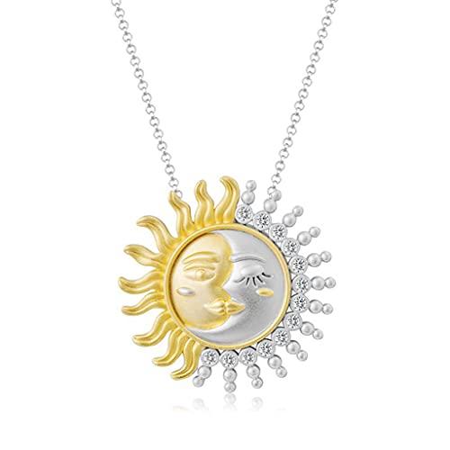 WEUITEE Ins Simple Wild Sun Moon Collar largo de la personalidad femenina Tendencia de dos colores de la clavícula, cadena para cumpleaños, sol y luna, collar i Love You