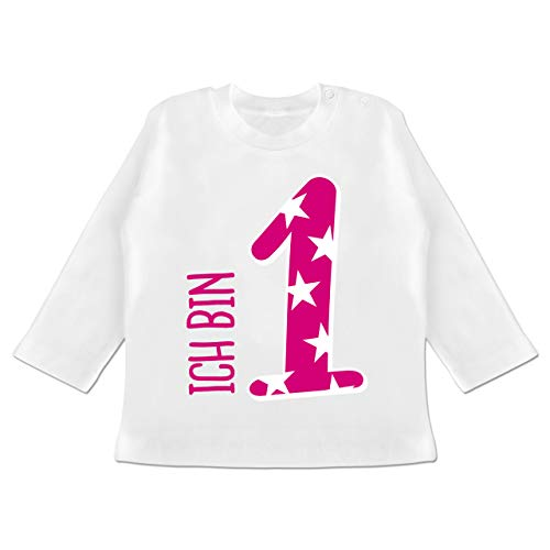 Shirtracer Geburtstag Baby - Ich Bin 1 Rosa Mädchen Erster - 6/12 Monate - Weiß - 1.Geburtstag mädchen - BZ11 - Baby T-Shirt Langarm