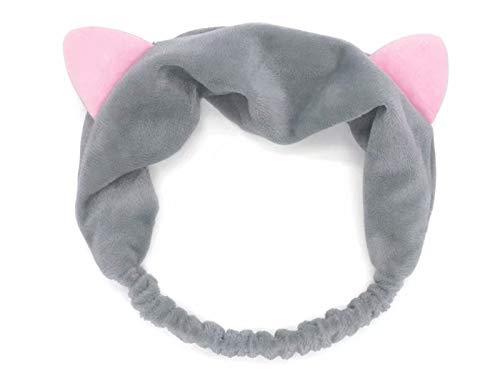 Haarbänder Haarband Stirnband Haarschmuck Haarreifen mit Katze-Ohr für Gesichtswäsche Make up, Grau