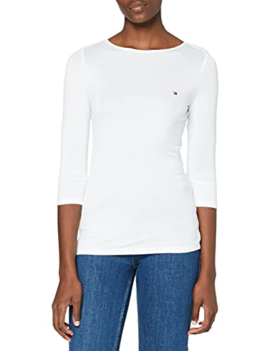 Tommy Hilfiger Boat Neck tee 3/4 Camisa, White, M para Mujer