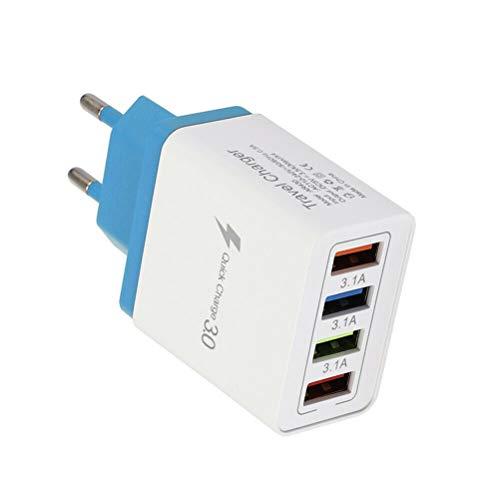 Cargador USB 4 Puertos 3.1A Fuente de alimentación USB múltiples enchufes de Carga, Cargador rápido Adecuado para iPhone SE / 12/11 / X para Samsung para tabletas de teléfonos Inteligentes Huawei