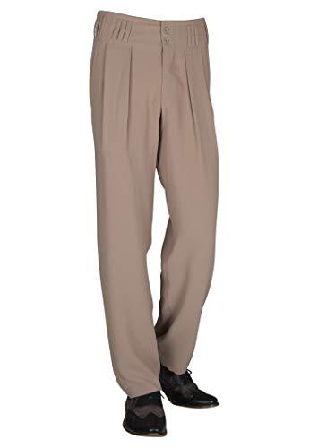 Herren Bundfaltenhose in Beige mit Extraweit geschnittenen Beinen, Boogie Outfit Herren Retro Vintage Stil Größe 52