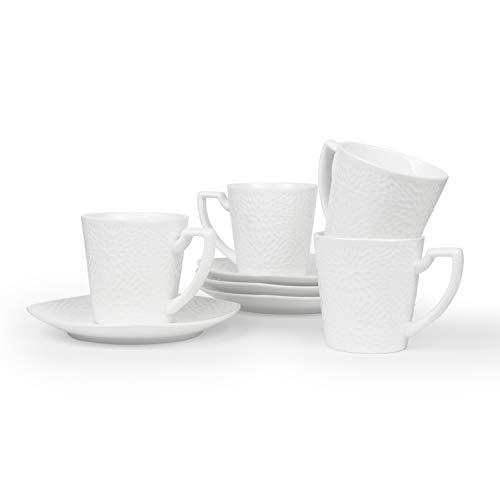 ComSaf Porzellan Cappuccinotassen mit Untertassen, Kaffeebecher Füllmenge 195ml, Weiß 4er-Set