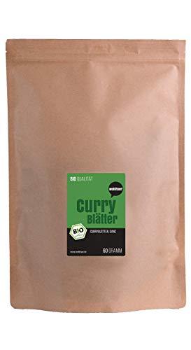 Wohltuer Bio Curryblätter ganz 60g - Sehr eisenreiche Qualität | Frauentee | Getrocknete Curryblätter zur Teeherstellung