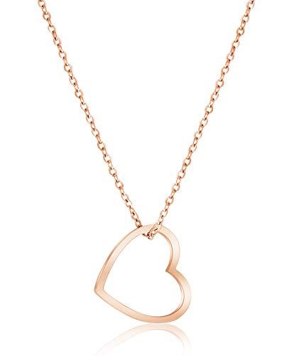 Nuoli® Herz Kette Damen Rosegold (45cm + 5cm verstellbar) Halskette mit Herzanhänger für Frauen & Mädchen, aus poliertem Edelstahl