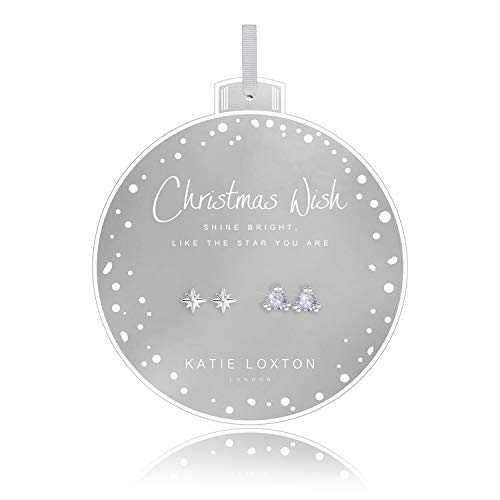 Katie loxton - Baubles - Christmas Wish - Triangle CZ Studs with Starburst Shape Earrings on Round Card - Set of 2