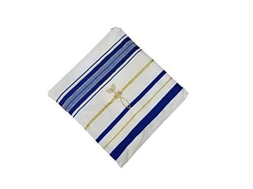Bethlehem Gifts TM Authentischer Messianisch-jüdischer christlicher Tallit Gebetsschal aus Israel (blau, normal)