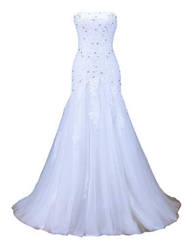 Vantexi Damen Elegante Perlen Korsett Spitze Tüll Meerjungfrau Hochzeitskleider Brautkleider Weiß Größe 48