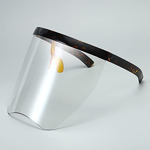 Gafas De Sol Gafas De Sol De Gran Tamaño para Mujer Y Hombre, Gafas De Sol Grandes De Una Pieza A Prueba De Viento para Hombre, Gafas Geniales Sin Montura Uv400, Transparente De Leopardo