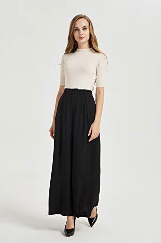 Tronjori Women High Waist Casual Wide Leg Long Palazzo Pants Trousers(XS, Black)