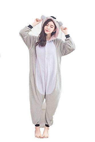 Kigurumi Adulto Costumi Animali per Carnevale Halloween o Spettacolo Party Show di Natale Pigiama Tuta da Cosplay Onesies Intimo Zoo Invernale Unisex da Donna e Uomo - M - Koala Grigio