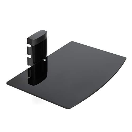 Vemount Estante Flotante Negro con Soporte de Pared Plano Negro y Cristal Templado Reforzado Negro para Reproductor de DVD