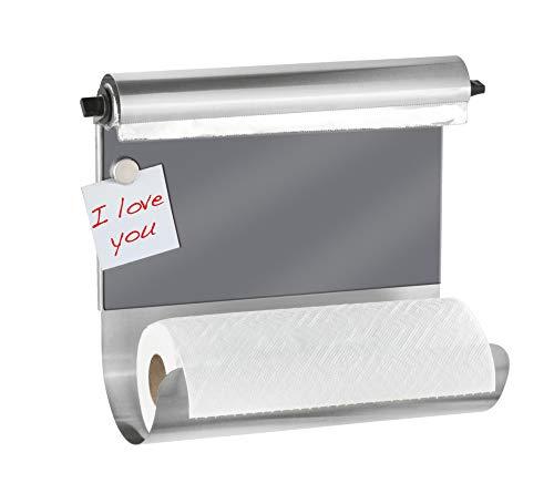 WENKO Wand-Halterung für Küchenrollen und Alufolie, magnetische Pinnwand für die Küche, ohne Bohren, Küchen-Organizer, Grau, 35 x 29 x 14.5 cm