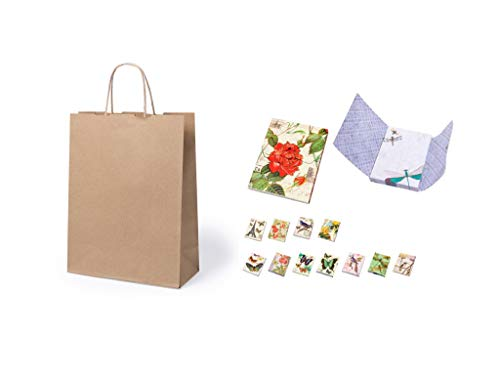 Lote de 100 Bolsas de Papel Kraft 23 x 22 x 9 cm + 3 Blocs de notas Mariposas- 100 Gr/m2 - Bolsas Marrones Kraft Retro Natural