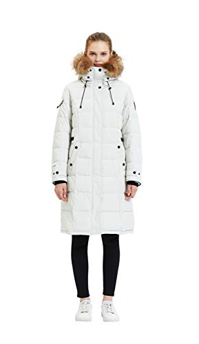 TIGER FORCE Waterproof Quilted Long Puffer Coat Winter Jacket for Petite Women with Real Fur Hood Parka Mountain Ski Snowcoat White Beige
