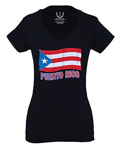 Puerto Rico Flag Boricua Puerto Rican Nuyorican Pride for Women V Neck Fitted T Shirt