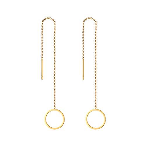 JewelryWe Schmuck Durchzieher Ohrringe Edelstahl Rund Kreis Lange Kette Einfädler Ohr Linie Ohrhänger für Frauen Mädchen, Gold