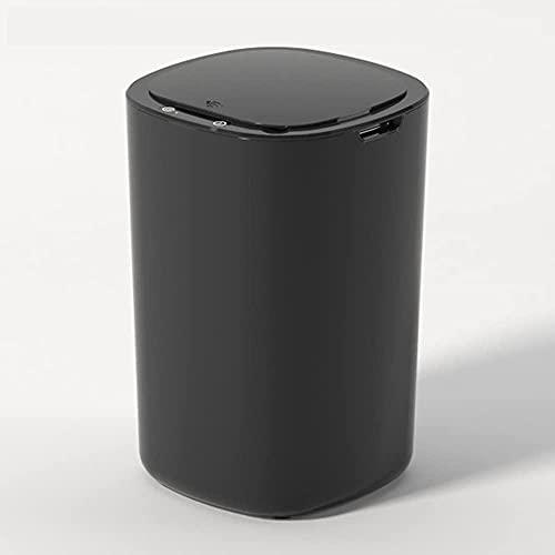 Bote de basura inteligente inteligente sin contacto automático de la basura inteligente del compartimiento de la basura de la basura redonda para la cocina del baño de la cocina (12L)-Negro Upgra
