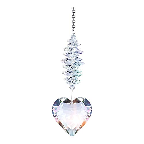 jieGorge 45mm Clear Glass Heart Shaped Crystal Pendant For Window Outdoor Garden Decoration, Decoration & Hangs for Easter Day (Multicolor)