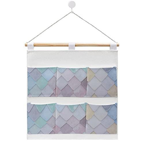 Bolsa de almacenamiento para colgar en la pared, acuarela arlequín cuadrado azulejos bolsas de almacenamiento en la puerta y armario con 6 bolsillos para la familia, baño, dormitorio, cocina