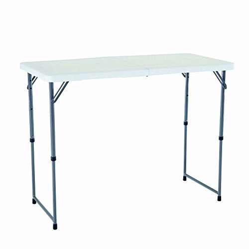 Indoor and Outdoor Study computer Desk Bedroom modern Style Table Outdoor Portable Simple Folding Height Adjustable Multifunctional Table,48x24 inches,White Granite