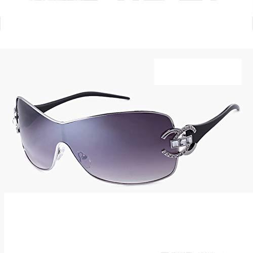 WWDKF Gafas De Sol, Gafas De Sol De Mujer con Montura De Una Sola Pieza De Sombrilla De Metal De Moda, Adecuadas para Conducir, IR De Compras, Citas, Fiestas Y Otras Ocasiones,A
