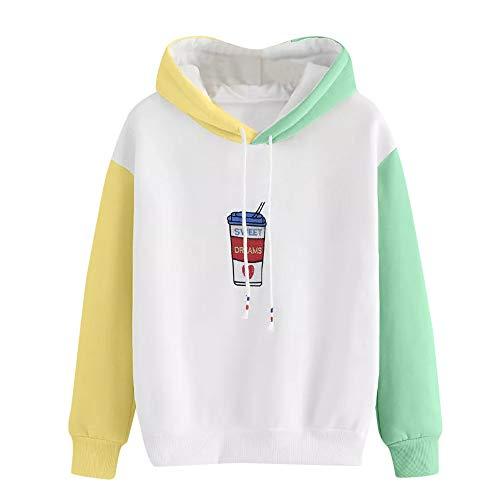 Sudaderas Mujer Tumblr con Capucha, LANSKIRT Suéter de Patchwork Color de Contraste Básica Camiseta Manga Larga Estampadas Sudadera Tops Sweatshirt Hoodies
