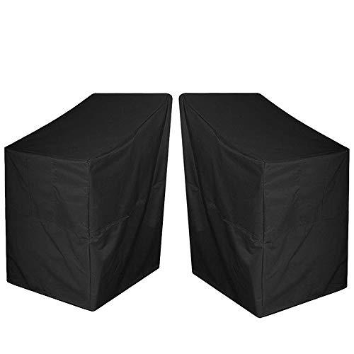 AOUSTHOP Gartenstühle Abdeckung 2er Pack 210D Oxford Stoff Wasserdicht Anti-UV Reißfest Liegende Patio Stapelung Stuhlbezug Outdoor Patio Möbelbezug