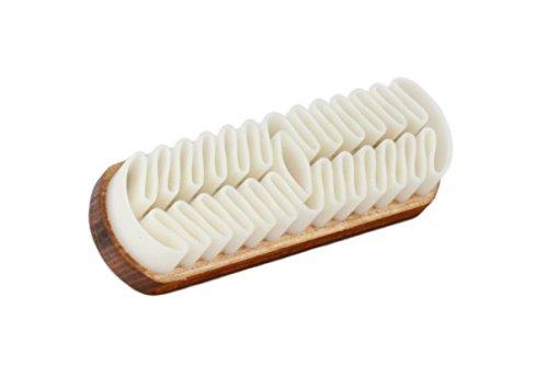 Langer & Messmer Schuhbürste | Raulederbürste mit auswaschbaren Krepplamellen zur Velourslederpflege