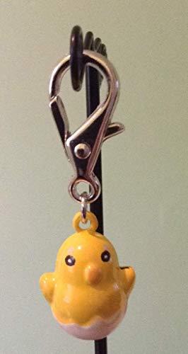 Stunning dangle yellow enamel 3D bell easter chick chicken bird wire hook earrings, handbag charm or zipper pull cat or dog collar spring clip