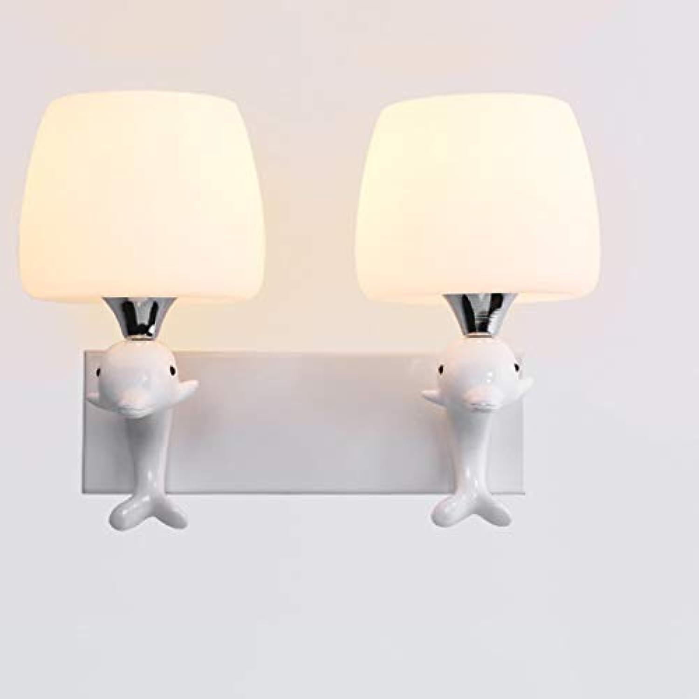 TYXHZL Einfache Moderne LED-Wand Lampe Dolphin Nachtlampe Doppelkopf Glas Wand Lampe E27 Schraub Wand Lampe
