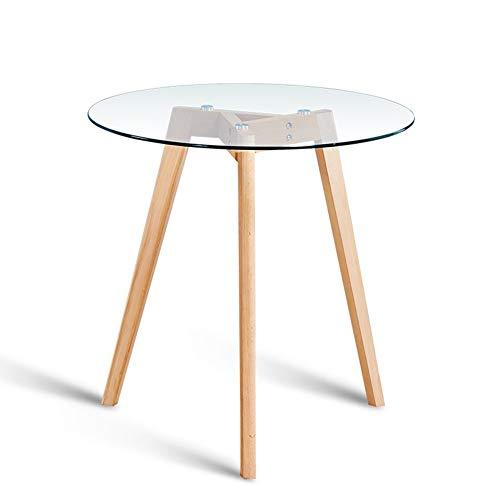 Desk Xiaolin Nordic Solid Wood Round Table Gehärtetem Glas Konferenztisch Beistelltisch (größe : 60cm)